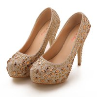 Wholesale Dinner Shoes - Gold Charming Rhinestone Brand New 10cm High Heels Bride Bridesmaid Wedding Shoes Party Dinner Prom Shoes Size : (34 35 36 37 38 39) Z899_6