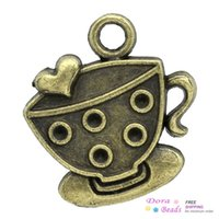 Wholesale Tin Tea Sets - Charm Pendants Coffee Tea Cup Mug Antique Bronze Heart Carved Cabochon Setting(Fits 1.5mm Dia) 25x22mm,30PCs (K02560)