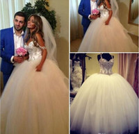 Wholesale Tulle Puff Skirt - 2016 Luxury Stunning Crystal Ball Gown Wedding Dresses Spaghetti Rhinestone Beaded Puff Tulle Floor Length Bridal Gowns Castle Bridal Dress