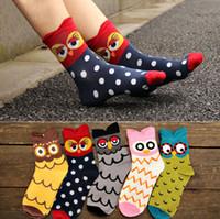 chicas de corea de dibujos animados al por mayor-Corea Estilo Estéreo Búho Calcetines Mujeres Big Girl 100% algodón de dibujos animados calcetines calcetines de tubo medio de calidad superior