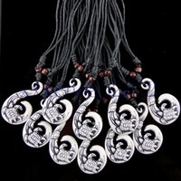 Wholesale Wood Fish Carving - Wholesale 12pcs Lots Hand Carving Lovely Surfing Sea Turtles chase leaves Maori Fish Hook Pendant Wood Beads Adjustable Necklace Gift MN258