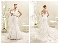 Wholesale Mermaid Dress Waistband - 2017 Wedding Dresses Bridal Gowns Eddy K 77971 Ivory Lace Mermaid Wedding Dress Scalloped Backless Applique Crystal Waistband Custom Made