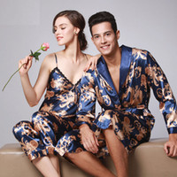 Wholesale Pajamas For Women Cheap - Wholesale- 11 Style Women's Chinese Silk Satin Pajamas Set Three Pcs For Woman Couple Sexy Female Homme Cheap Sleeping Sleepwear Plus Size