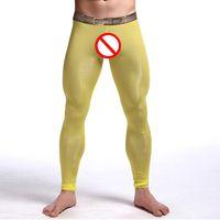 Wholesale Transparent Leggings Tights - 2017 New Man Sexy Nylon Transparent Long Johns Men Lce Silk Pouch Sheer Leggings Bottoms Gay Spandex Lounge Tights Men's Underwear