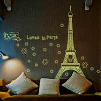 Wholesale I Love Paris Wall Decal - I Love Paris Eco-friendly Large Eiffel Tower Decoration Fluorescent Luminous Wall Sticker Glow in the Dark Stars Home Decor Wall Art Decals