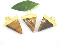 Wholesale Triangle Shaped Beads - 5pcs Triangle shape Tiger Eye Druzy Gem Stone Healing Chakra Pendant Bead Charms Fit Jewelry Necklace