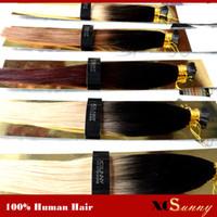 hint remy insan saç sarışın toptan satış-XCSUNNY Stok 100% Remy Hint Saç Ombre Ben Ucu Saç Uzantıları 18