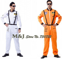 Wholesale Astronaut Costume Adult - Wholesale-Free shipping!!Halloween cosplay costumes clothing adult stage White orange collection astronaut suits astronaut spacesuit