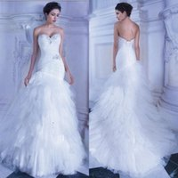 Wholesale Demetrios Mermaid Dresses - Applique Wedding Mermaid Dresses Demetrios Fall 2015 Sweetheart Neckline Trumpet Lace-up Pleats Bodice White Tulle Mermaid Wedding Gowns