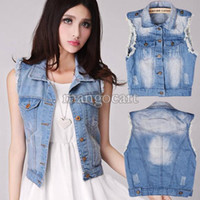 Wholesale Women Blue Jean Vest - Wholesale-Best Price !Fashion Vintage Women Short Denim Short Jacket Retro Washed Sleeveless Cardigan Jean Vest Waistcoat 30