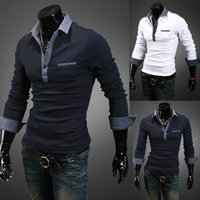 Wholesale Long Sleeve Blue Jean - Fashion Autumn New Polo Shirt For Men Luxury Casual Slim long sleeve Jean Tees & Polos Fit Stylish T-shirts