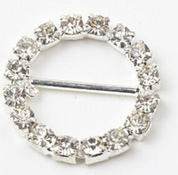 Wholesale Covers Sashes - 20mm Round Rhinestone Crystal Buckles Brooches 14mm Bar Invitation Ribbon Chair Covers Slider Sashes Bows Buckles Wedding Supplies