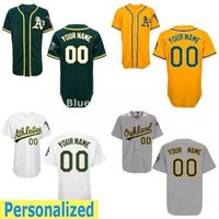 Wholesale Mes Shirts - Factory Outlet Custom Oakland Athletics Baseball Jerseys Personialized Me Jersey White Grey Yellow Green Shirt Stitched Authentic Jerseys
