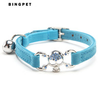 Wholesale Skull Bells - Free Shipping Bling Pirate Skull Pet Cat Collar Pet Products with Safety Elastic Belt 5 Colors