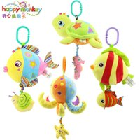 Wholesale Octopus Toy For Babies - Happy Monkey Baby Plush toys Ocean Animal Lathe Fish Tortoise Octopus Hanging Bells Baby Toy for Bed Pull Music Soft Toy