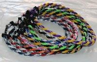 Wholesale Neon Titanium Necklaces - Free shipping free shipping 1000pcs Tornado titanium necklace twist necklace neon colors 2 ropes mix color 55cm