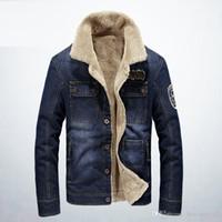 голубой зимний пиджак мужчины оптовых-Brand Winter Men's Jackets Stand Collar Demin Cashmere Blue Casual Solid Color Long Sleeve Warm Fleece Men Jacket Clothing Plus Size