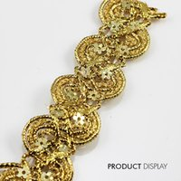 Wholesale Sequins Paillette Trim - Beaded Gold Sequin Fabric Paillette Braided Applique Decorated Lace Ribbon Trim Sewing Supplies for Craft Accessories 20yd T773
