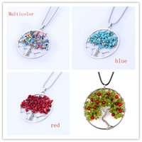 Wholesale Silver Natural Ruby Necklace - 2017 Wholesale 10Pcs Silver Plated Natural Multi Style Gravel Wire Winding Inlay Owl Tree of Life Pendant Statement Necklace