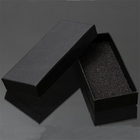 Wholesale Cardboard Packaging For Jewelry - Wholesale-Practical Matte Black Gift Box Jewelry Key Buckle Packaging Small Cardboard Jewelry Boxes With Foam Sponge Pad Boxes For Sale