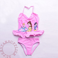 Wholesale Snow Suits For Kids - Cartoon Snow White Swimsuit for Kids Princess Pattern Ruffle Two-piece Swimwear Bathing Suit Girls Birthday Xmas Gift