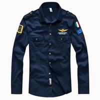 Wholesale air collars - New 2016 men's spring Aeronautica militare Air Force One shirt,men brand bomber long sleeve shirts,men's causal Embroidery shirt