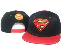 Superman Snapback Noir Rouge Pas Cher-Black black Baseball Cap Superman cartoon hero Logo de broderie Snapback réglable Snapbacks Dance Summer Hommes Femmes casquettes DDMY