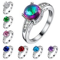 Wholesale Morganite Crystal - 8 colors Wedding Rings Austrian crystal rings Zircon Crystal Tourmaline Morganite Topaz Gemstone rings 925 silver plated woman rings