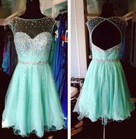Wholesale Dress Short Sequins Open Back - 2015 Autum Short Homecoming Cocktail Party Dresses Crew Neck Mint Green Prom Gowns Cap Sleeves Crystal Sequins Open Back Prom Dresses 2016