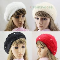 Wholesale Warm Stylish Winter Hats - Wholesale-Stylish Fashion Women Winter Warm Rabbit Fur Snow Beanie SKI Hat Cap Beret Angora Pearl New
