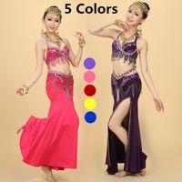 Wholesale Beaded Costume Bra Set - Belly Dance Costume Plus Size Beaded Cloth Suit Set Bra ( 75C 80C 85C ) Belt Skirt Beading Belly Dancing Bead
