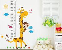 Wholesale Growth Wall Sticker - Huge Giraffe Monkey Tree Kids Height Measure Wall Stickers Boy Girl Growth Chart Brand New Good Quality