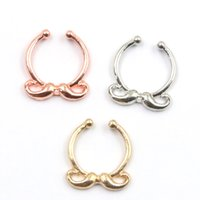 Wholesale Moustache Silver - 10pcs NEW Moustache septum ring nose rings and studs alloy gold and silver clip on hoop nose fake piercing septum for women N0046