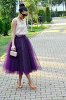 Wholesale Black Sheer Maxi Skirt - New Fashion Purple Tulle Women Skirts Tea Length Custom Made Plus Size Maxi Skirts For Bridesmaid Dresses Party Gown 2016 Spring Tutu Skirt