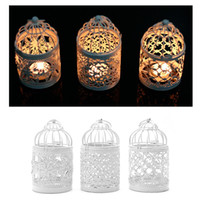 Wholesale Decoration Bird Cages - 3 Types Metal White Holder Tealight Candlestick Hollow Hanging Lantern Bird Cage Vintage Wrought Candle Holders New