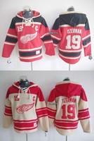 jersey de la sudadera con capucha del hockey de detroit al por mayor-2015 más nuevos hombres al por mayor Detroit Red Wings # 19 yzerman rojo / beige con capucha Hockey Hoodies Jerseys sudaderas, envío gratis