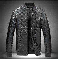 Wholesale Cheap Mens Fur Jackets - Fall-Cheap High Quality men leather jacket Black Brown Faux Leather Motorcycle Jacket Mens Stand Collar Chaquetas Winter jacket M-5XL