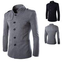Wholesale British Tunic - Hot Sale 2015 New Fashion Elegant British Style stand collar Men's blazer Casual Slim Pure Color chinese tunic suit Men
