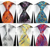 Wholesale Silk Knit Tie Pattern - Wholesale-New 2015 Men's Fashion Accessories Floral Pattern Jacquard Woven Business Silk Tie Necktie for Men Black White Blue Red Orange