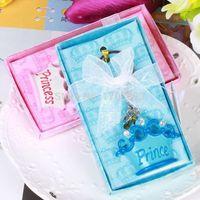 llavero azul bebé al por mayor-2015 moda linda rosa / azul príncipe Crown Design Keychain llavero Favores Baby Shower regalos para la boda / festival decoración del partido 0915 # 15