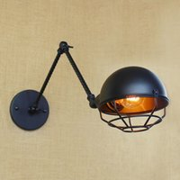 Wholesale vintage industrial wall lamp for sale - Group buy Black metal Long arm small wall lamp light for led v v vintage loft industrial america indoadornment Wall lamp Lighting double section