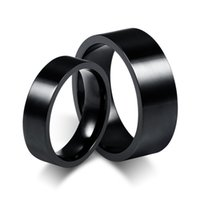 Wholesale Couples Black Wedding Bands - ORSA New Fashion Titanium Steel Couple Rings High Quality Black Plated Titanium Rings for Women Men OTR86