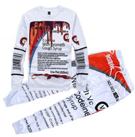 Wholesale Hiphop Outfit - Wholesale-Free shipping DIY designer sport tracksuit HipHop 2Pac sets Punk joggers pants sweatshirt sport twinset Couples Joggers Outfits