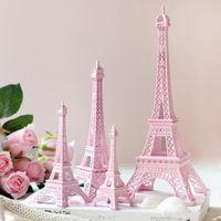 paris eiffelturm mittelstücke großhandel-Romantisches rosa Paris 3D Eiffel-Turmmodell Legierungs-Eiffelturm-Metallhandwerk für das Hochzeitsmittelstücktabellenmittelstück geben Verschiffen frei