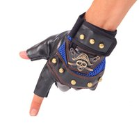 Wholesale Wholesale Sport Name Brand - Wholesale-New Fashion 2015 Men's Tactical Gloves High Quality Skull Fingerless Glove Sport Gym Outdoor Men Gloves Famous Brand Name Hot