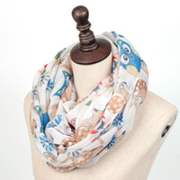 Wholesale Owl Scarf Free Shipping - 2017 New Women tree Collar scarf Fashion Cute Squirrel Scarves Owl Print Infinity Scarf for Woman Free Shipping