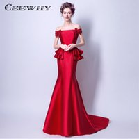 d921ff0b7bba CEEWHY Blu Navy tromba sirena abiti da sera elegante abito da ballo formale  vestido de festa ruffles bordare abito da sera lungo