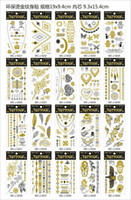 Wholesale Good Tattoo Arm - 2015 Hot Sale Good 12pcs Witha Exquisite Packaging Gold Silver Metalic Temporary Tattoos Jewelry Stickers Free Shipping