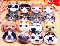 Wholesale Wholesale Cute Coin Purses - Cartoon cloth art key package cat dog cute animal 3d coin bag princess coin purse mix style