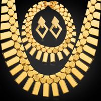 gargantilla de collar de oro africano al por mayor-Las mujeres geométricas borlas Pendientes Rock Stars Charm Bracelets Gargantilla Collares 18 K chapado en oro conjuntos de joyas africanas
